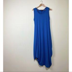 Comfy USA M Blue Asymmetric Jersey Knit Midi Dress